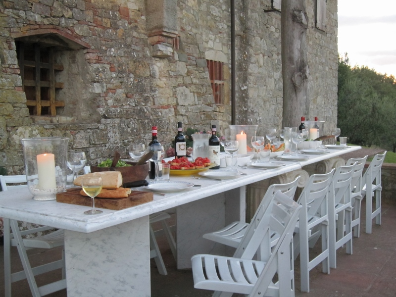Dining at the marble table on the Terrace