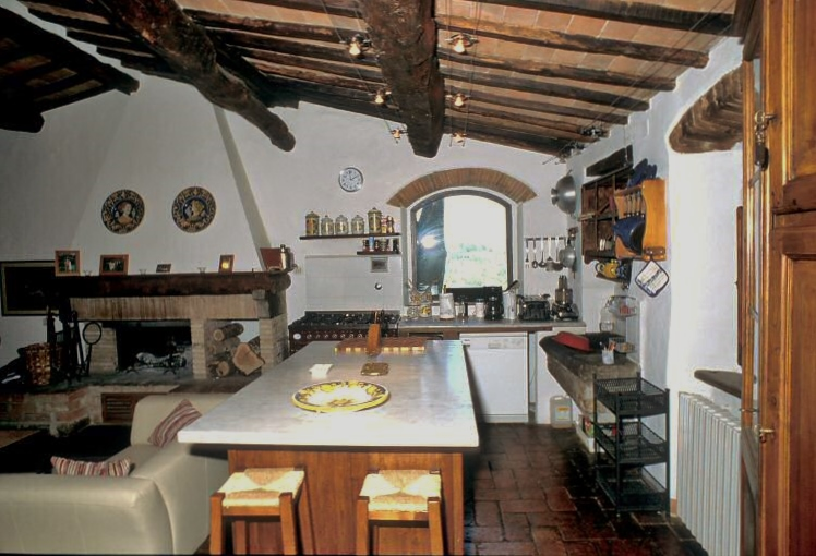 The dining table in the kitchen